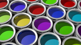 Colorful paint cans stock video