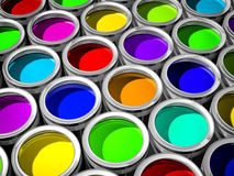 Colorful paint cans. 3d illustration, whole screen Stock Photography