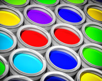 Colorful paint cans Stock Images