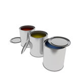Colorful  Paint Cans isolated on white. 3d rendering of Paint Cans isolated on white Stock Photo