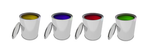 Colorful  Paint Cans isolated on white. 3d rendering of Paint Can isolated on white Stock Photo