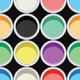 Colorful paint cans, vector. Seamless background pattern of colorful paint cans, vector Stock Images