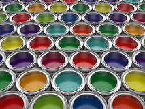 Colorful paint cans set Royalty Free Stock Photos