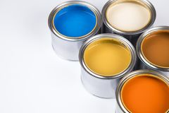 Colorful paint cans set. Open buckets with a paint royalty free stock photography