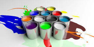 Colorful paint cans on white background, 3d illustration Royalty Free Stock Photo