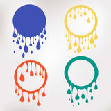Colorful paint dripping. Water flows. Abstract circle blobs. Stock Images