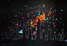 Colorful Paint Drops Artistic Kuwait Skyline. Colorful Glow In The Dark Paint Drops Artistic Kuwait Skyline Royalty Free Stock Photo