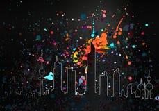 Colorful Paint Drops Artistic Kuwait Skyline. Colorful Glow In The Dark Paint Drops Artistic Kuwait Skyline vector illustration