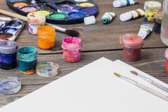 Colorful paint, gouache, watercolor Stock Photography