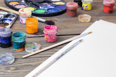 Colorful paint, gouache, watercolor Royalty Free Stock Photo