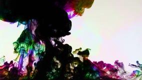 Colorful Paint Ink Drops Splash in Underwater in Water Pool stock video