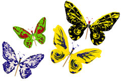Colorful paint made butterfly set Royalty Free Stock Images