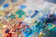 Colorful Paint Mix on Artists Palette Stock Image