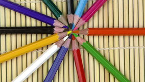 Colorful Paint Pencils Equipment Tools on Wooden Background stock video footage