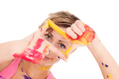 Colorful paint portrait Royalty Free Stock Photos