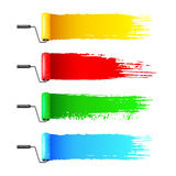 Colorful paint rollers and grunge stripes Stock Photography