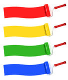 Colorful paint rolls painting stripes Stock Photography