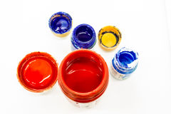 Colorful paint in round bottles Stock Photo