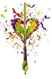 Colorful paint splash heart pierced by paintbrush Stock Photos