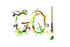 Colorful paint splash painted word go Stock Photos