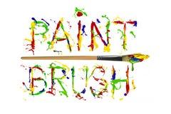 Colorful paint splash painted word paintbrush Royalty Free Stock Photo