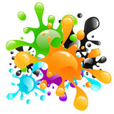 Colorful paint splashes Royalty Free Stock Photos
