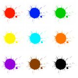 Colorful paint splashes. Colorful paint or ink splashes on white background Stock Photography