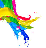 Colorful Paint Splashes. Isolated on White. Abstract Splashing Stock Images