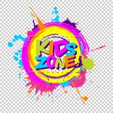 Colorful paint splashes with Kids zone emblem for children playground for play and fun on chequered background. royalty free illustration
