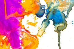 Colorful paint splashes over white. Paper background, closeup photo texture Royalty Free Stock Image