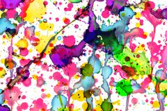 Colorful paint splashes on white, art design Royalty Free Stock Photography
