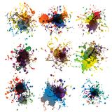 Colorful paint splashes on white. plus EPS10 Stock Image