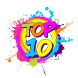 Colorful Paint Splashes With Circular Top Ten Emblem For Ratings Or Parades Royalty Free Stock Photography