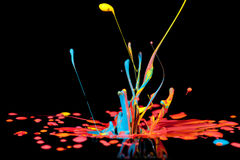 Colorful paint splashing on black. Stock Photos