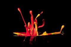 Colorful paint splashing on black. Stock Image