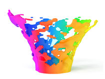 Colorful paint splashing isolated on white. 3d rende Stock Photography