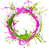 Colorful paint splashing. On white stock images