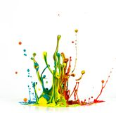 Colorful paint splashing. On white background stock images