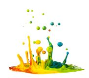 Colorful paint splashing. On white background royalty free stock photography