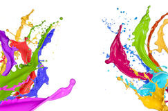 Colorful paint splashing. On white background royalty free illustration