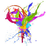 Colorful paint splashing. On white background royalty free stock image