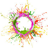 Colorful paint splashing. On white background royalty free stock images