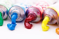 Colorful paint tubes Royalty Free Stock Photo