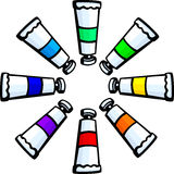 Colorful paint tubes circle vector illustration Royalty Free Stock Photography