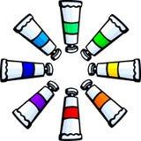 Colorful paint tubes circle vector illustration. Vector illustration of some colorful paint tubes forming a circle Royalty Free Stock Photography
