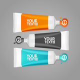 Colorful Paint Tubes Set Menu Banners Option. Vector Stock Photo
