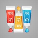 Colorful Paint Tubes Set Menu Banners Option. Vector Stock Image