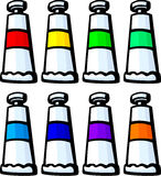 colorful paint tubes vector illustration Stock Image