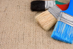 Colorful paintbrush on sacking Royalty Free Stock Photos