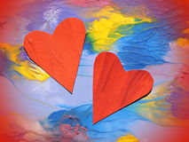 Colorful painted abstract with two hearts royalty free stock photos